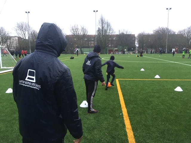 Boys football training